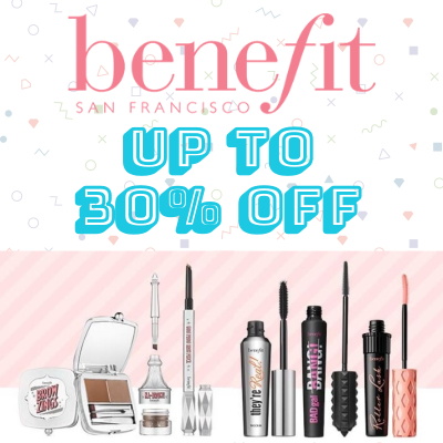 Get up to 30% off Benefit + choose a free gift when you spend £35!