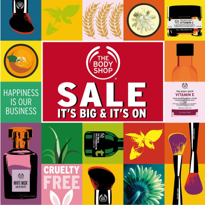 up to 50% off at the Bodyshop Sale